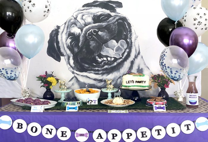 Full buffet table - Dog Themed Puppy Birthday Party Ideas