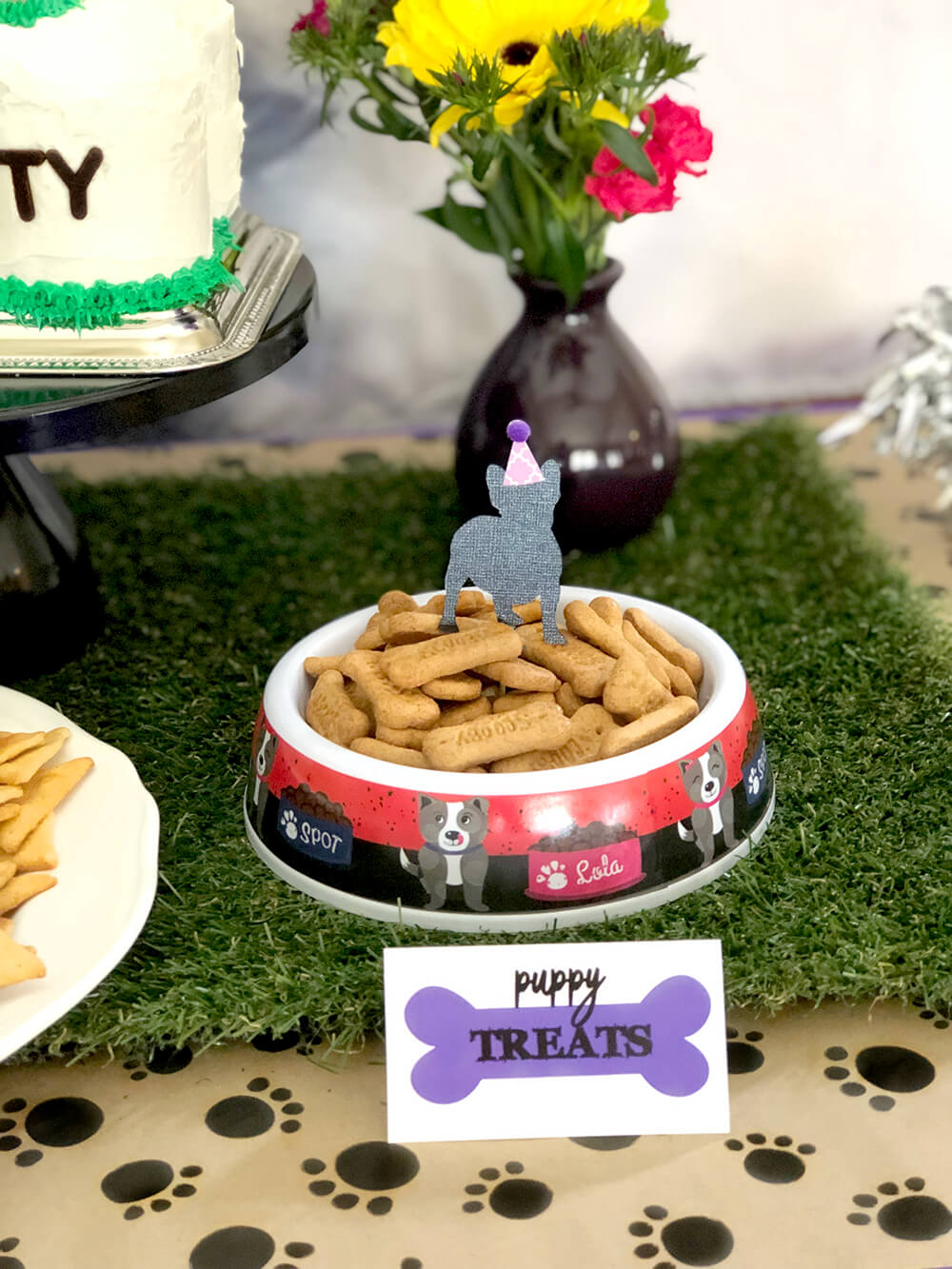 Dog bone shaped cookies as Puppy treats - Puppy Themed Birthday Party Food Ideas