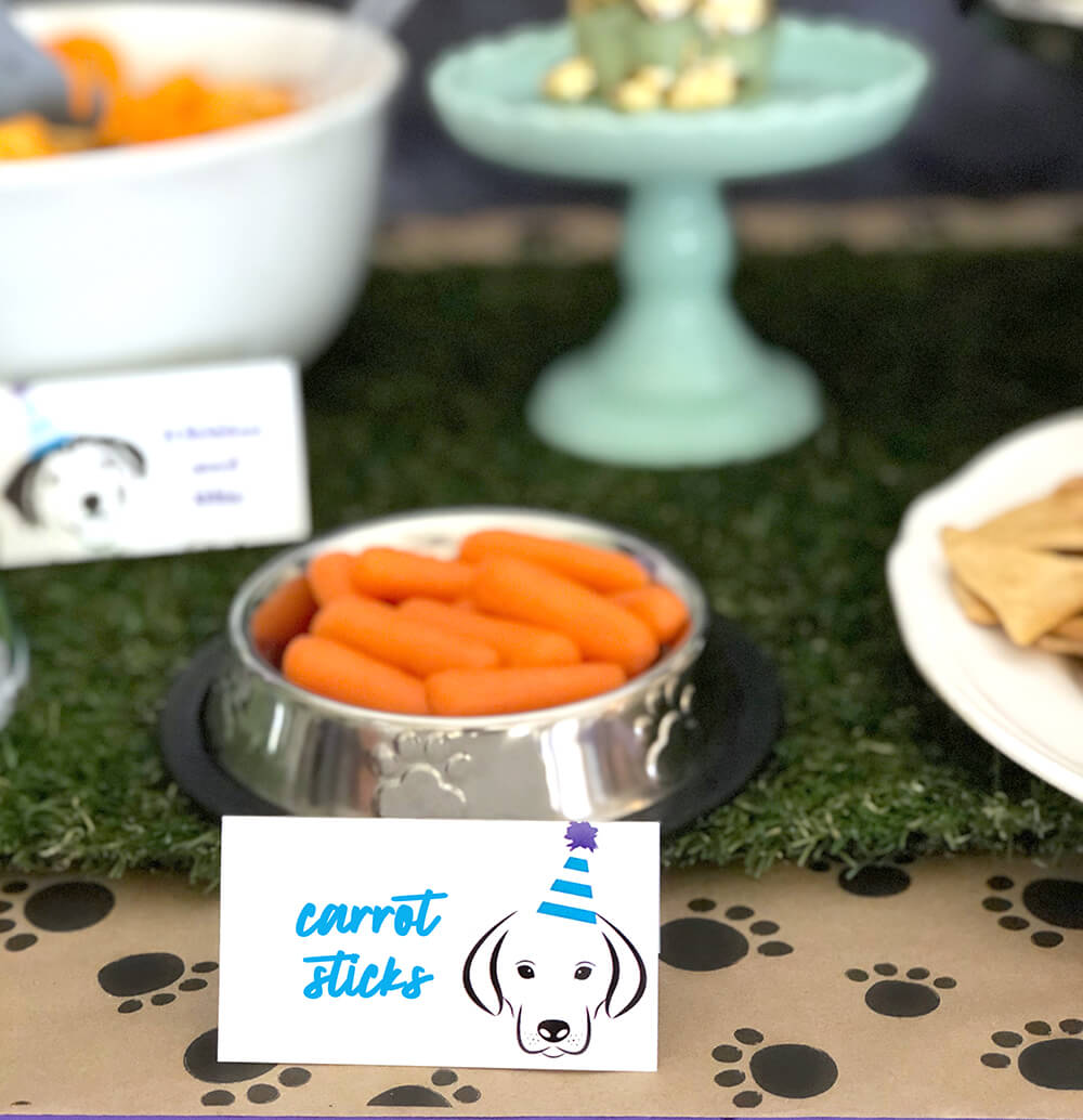 Carrot sticks for fetching - Puppy Themed Birthday Party Food Ideas