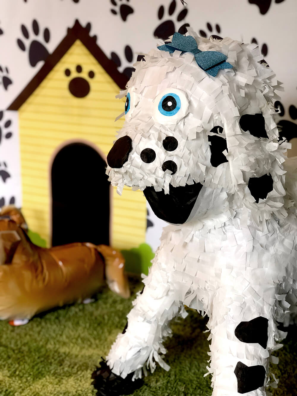 Dalmatian piñata after transformation! Puppy party activity ideas for kids