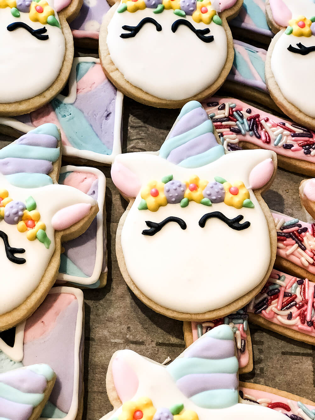 Custom sugar cookies Unicorn themed birthday party ideas