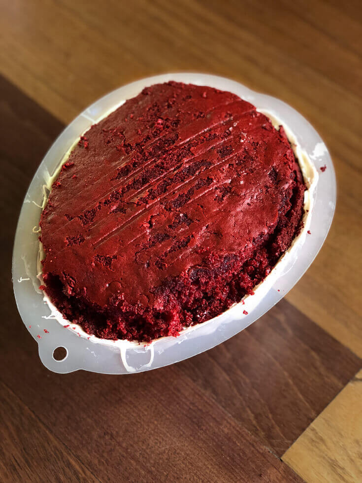 Second cake layer red velvet Brain Cake tutorial