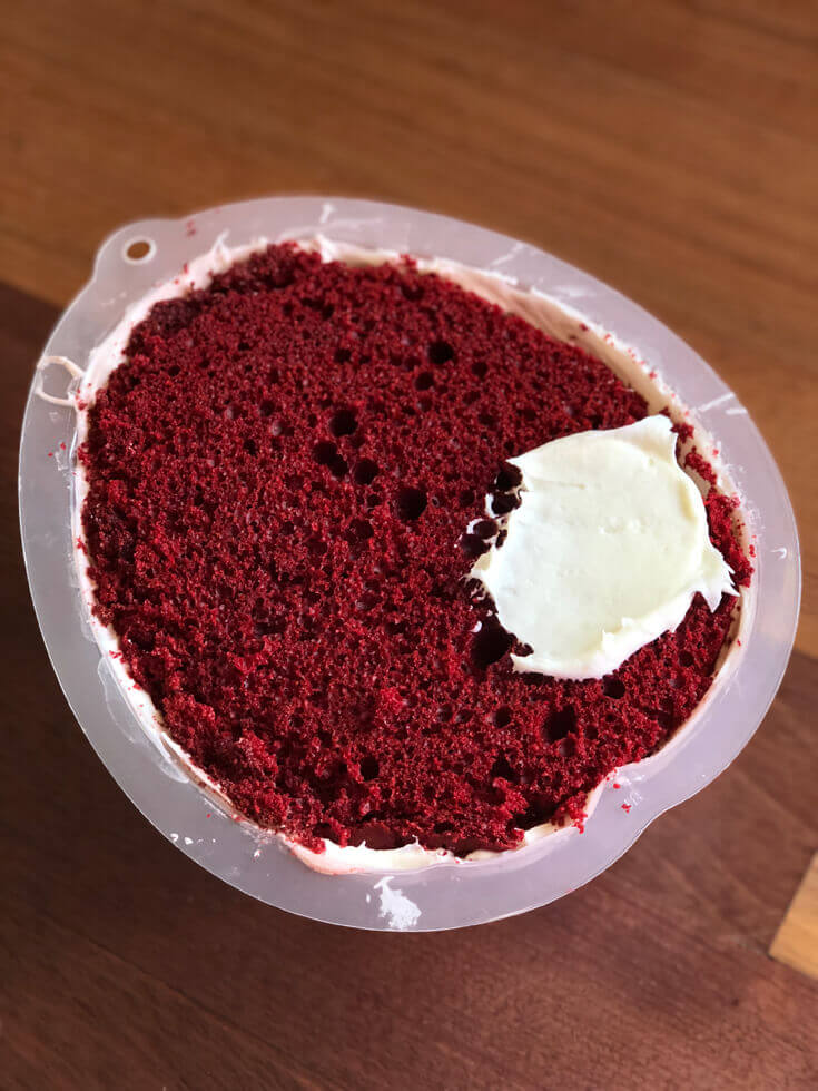Trimmed cake ready for frosting red velvet Brain Cake tutorial