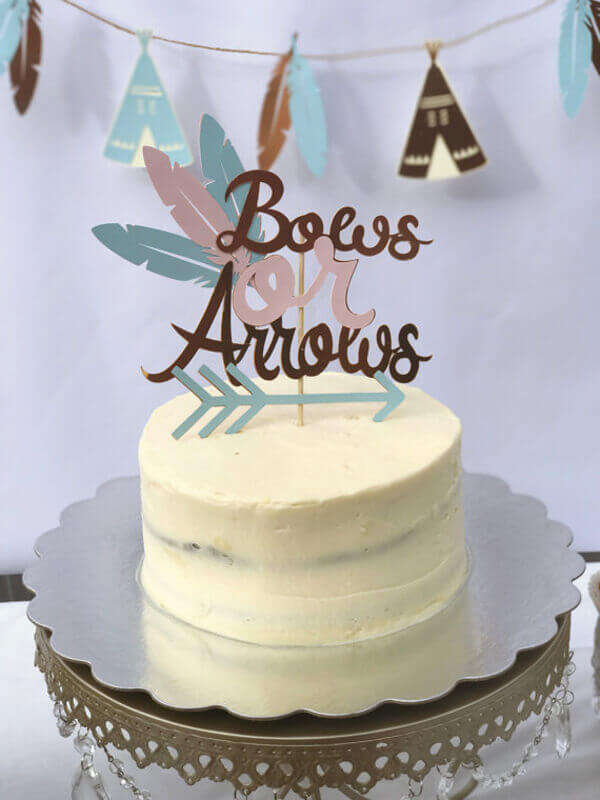 Halfpint Design - Bows or arrows cake topper is a nice addition to a gender reveal party.