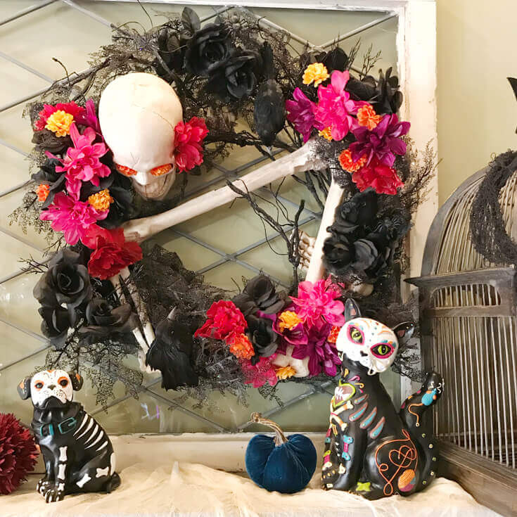 My existing Halloween wreath needs a little reinforcing. Day of the Dead Wreath Transformation from Halfpint Design. Day of the Dead party, Dia de los Muertos decor, Decor DIY