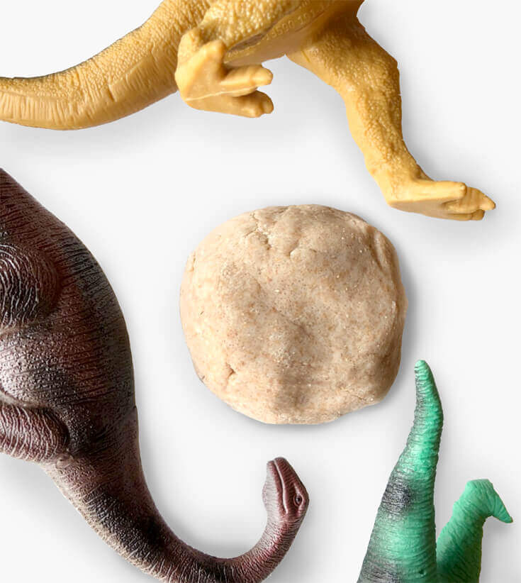 Salt Dough and dinos to make Dinosaur fossils for kids