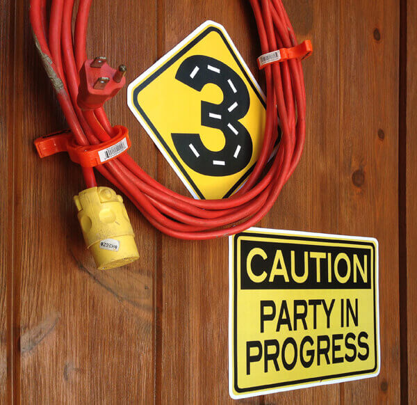 Halfpint Party - Extension cord wreath with warning signs and #3
