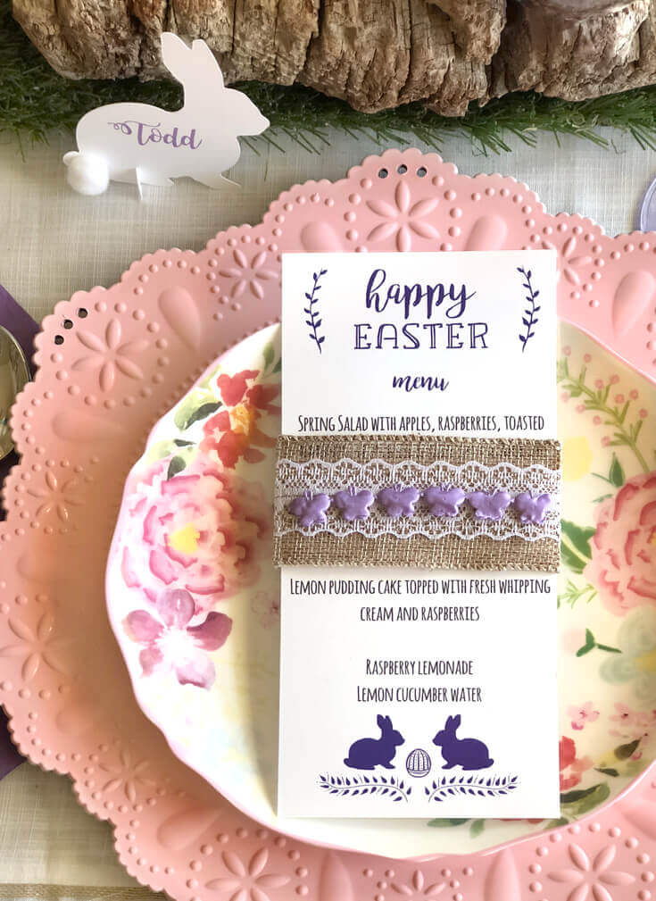 Easter place setting. Pink charger, floral plate, free printable menu, and downloadable bunny place card.
