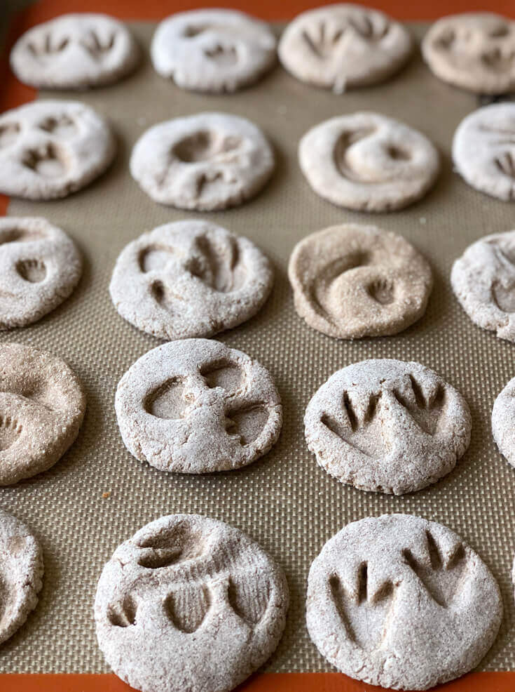 Dinosaur fossils for kids from salt dough on cookie sheet