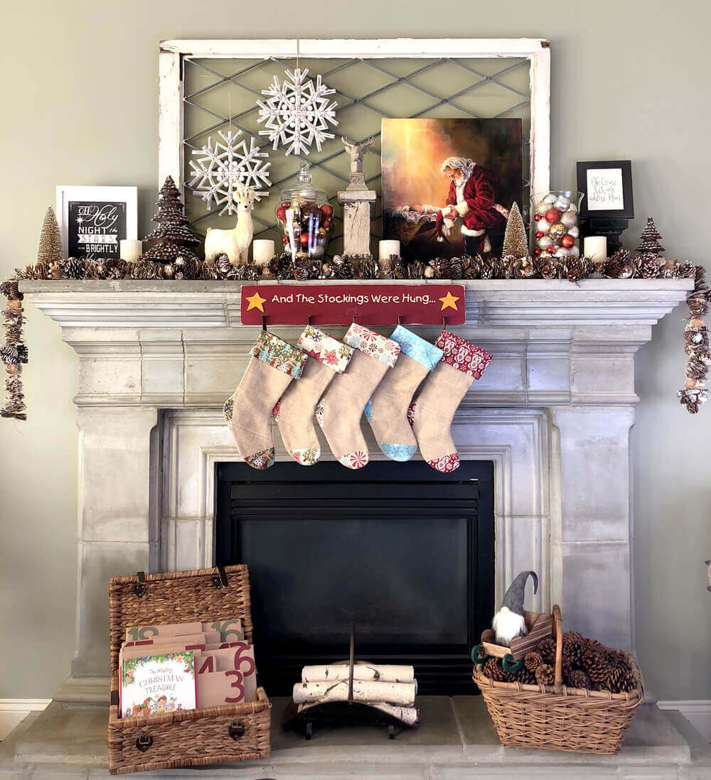 Rustic woodland Christmas mantel with stockings