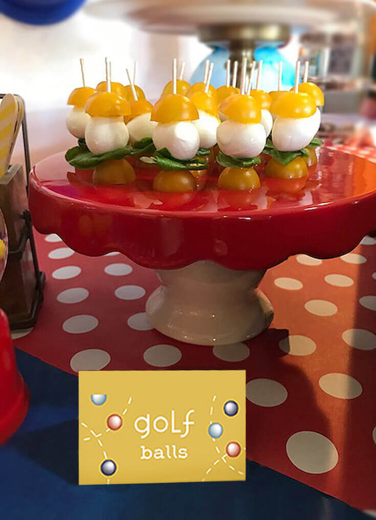 Caprese bites on toothpicks to reduce party touch points