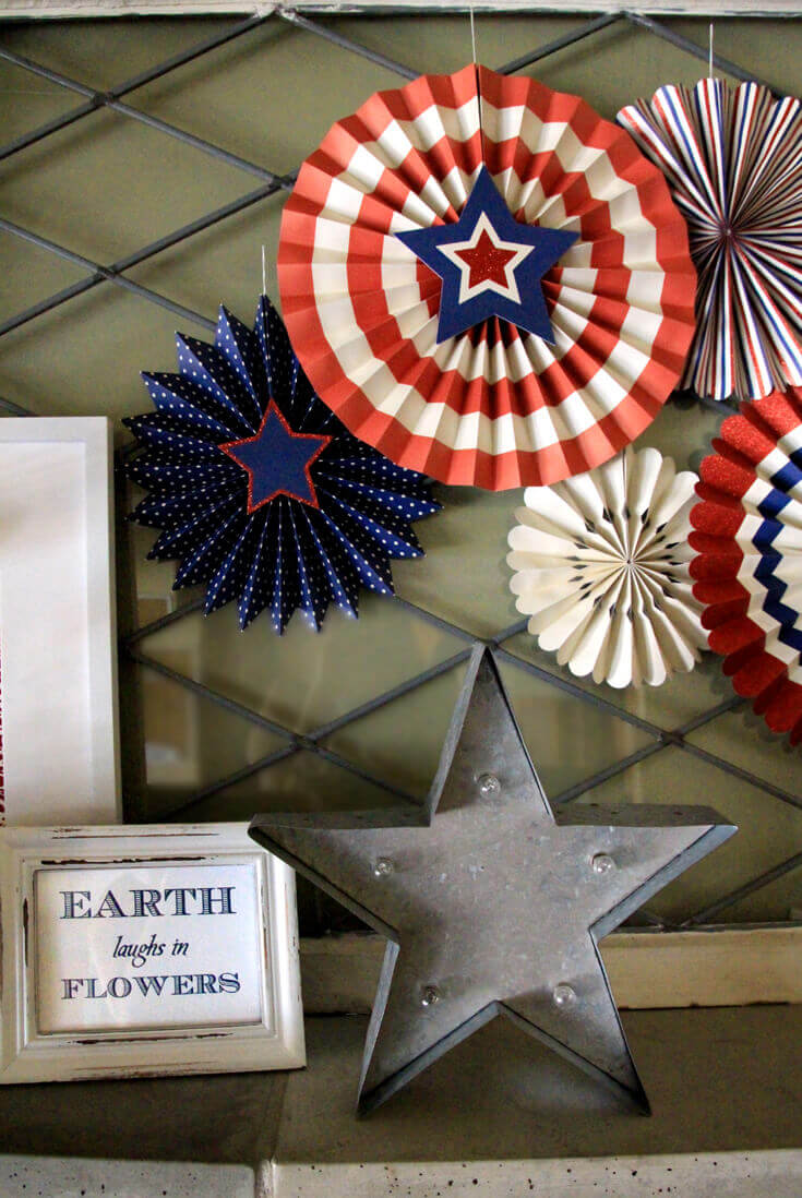 Halfpint Design - This patriotic mantel is great for a super hero party or nautical party. Red, white, and blue are perfect party colors to use before and after 4th of July for a Wonder Woman or Captain America party (stars included) or Superman and Spiderman. Double Duty Fourth of July decor.