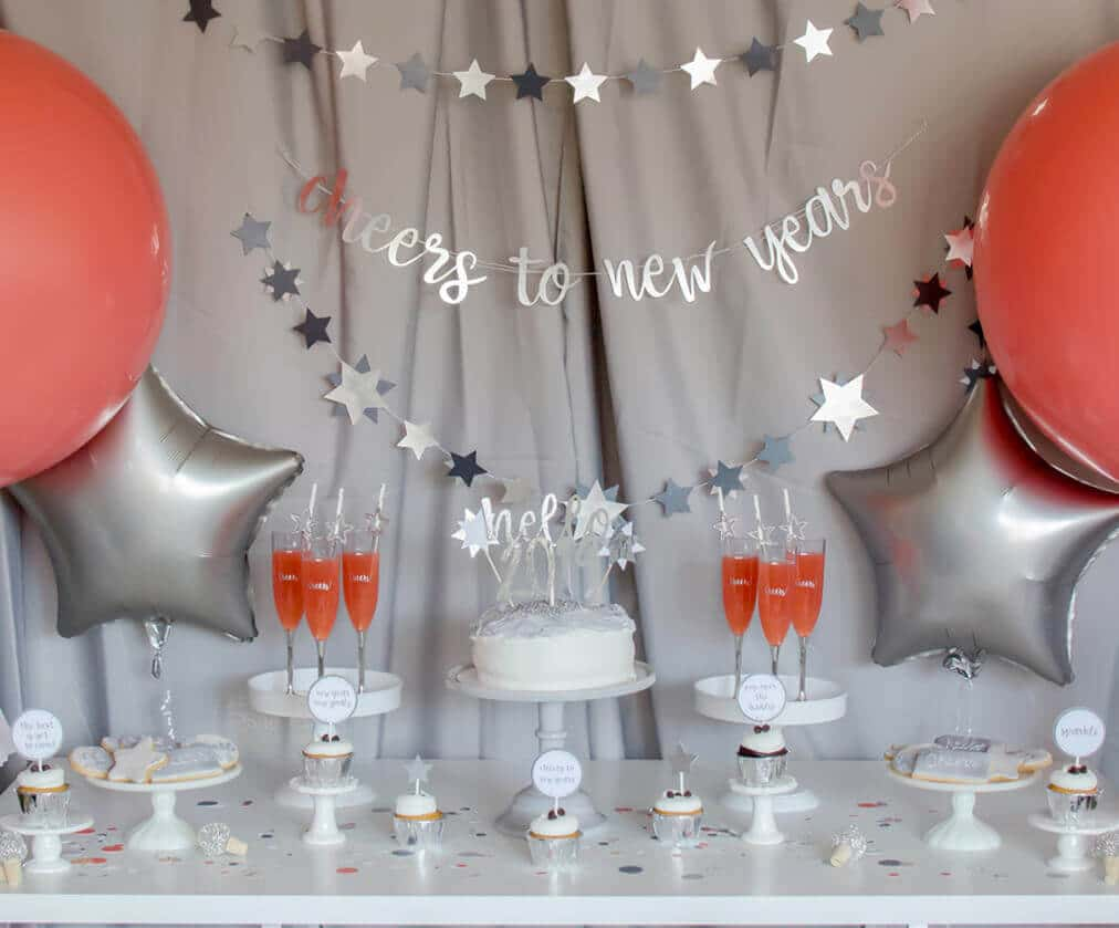 Cheers to new years party decor for Pantone inspired New years party
