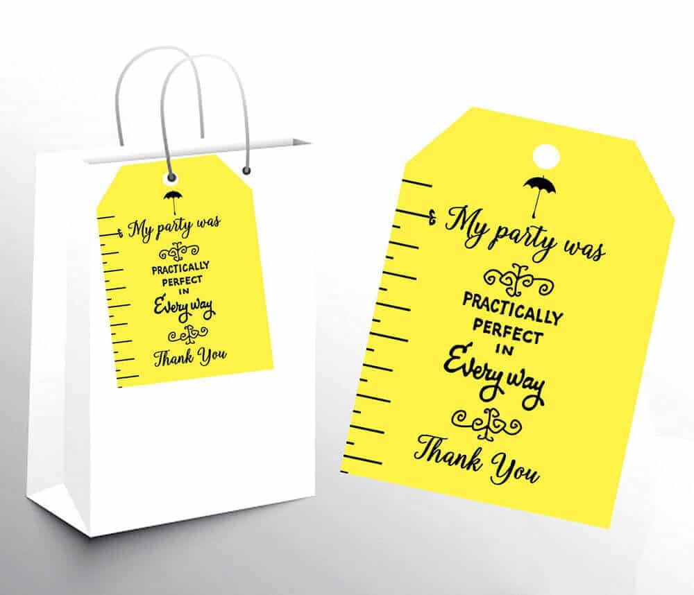 Favor bag tags Mary Poppins Party Idea