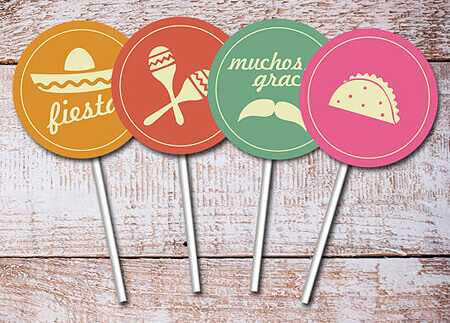 Halfpint Design - Cinco de Mayo Party toppers from Thank You Papers. Coordinating Party invitations available.