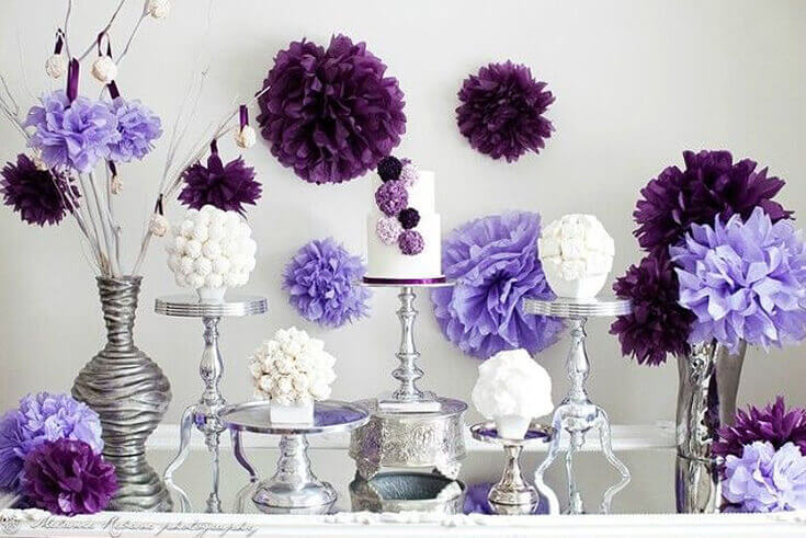 Halfpint Design - Purple pom pom party with white, lavender, and plum