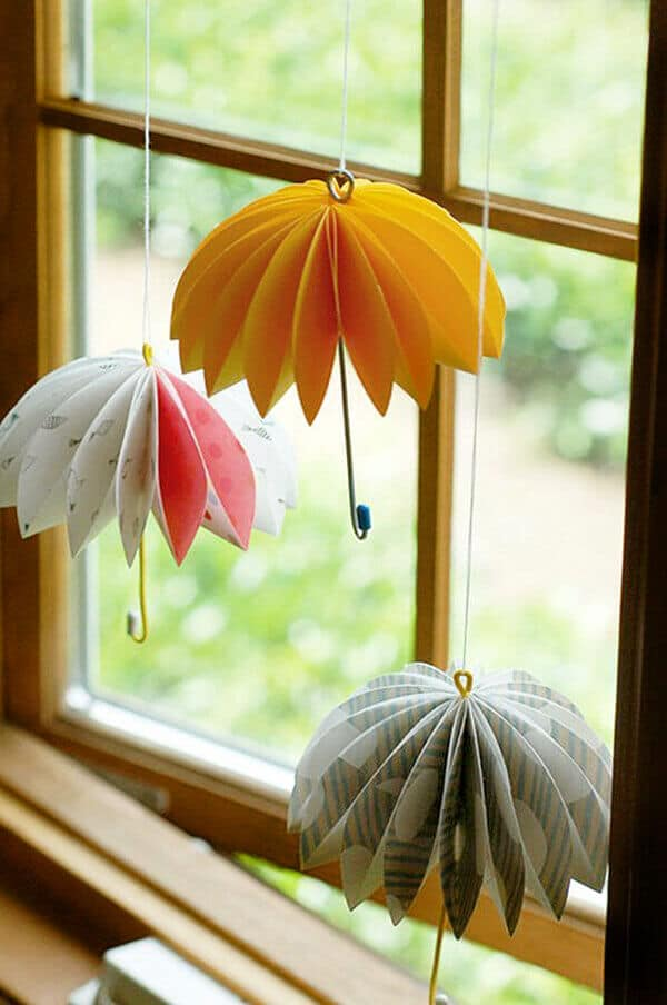 3D paper umbrellas Mary Poppins Party Idea