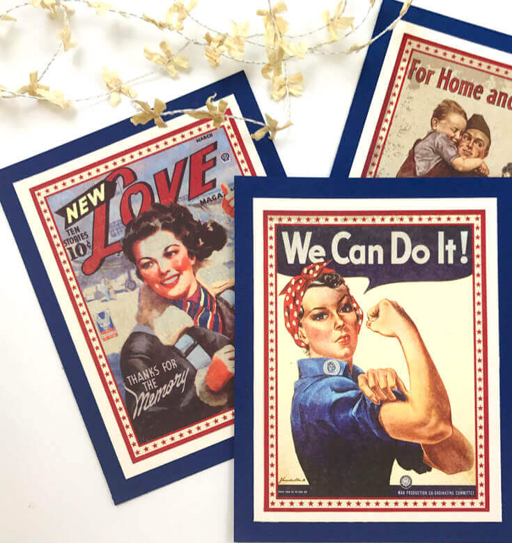 Halfpint Design - A great addition to your patriotic decor for 4th of July, Memorial Day, Patriot's Day, Veteran's Day or when you are just Proud to be an American! Vintage looking pin-up images. Americana decor.