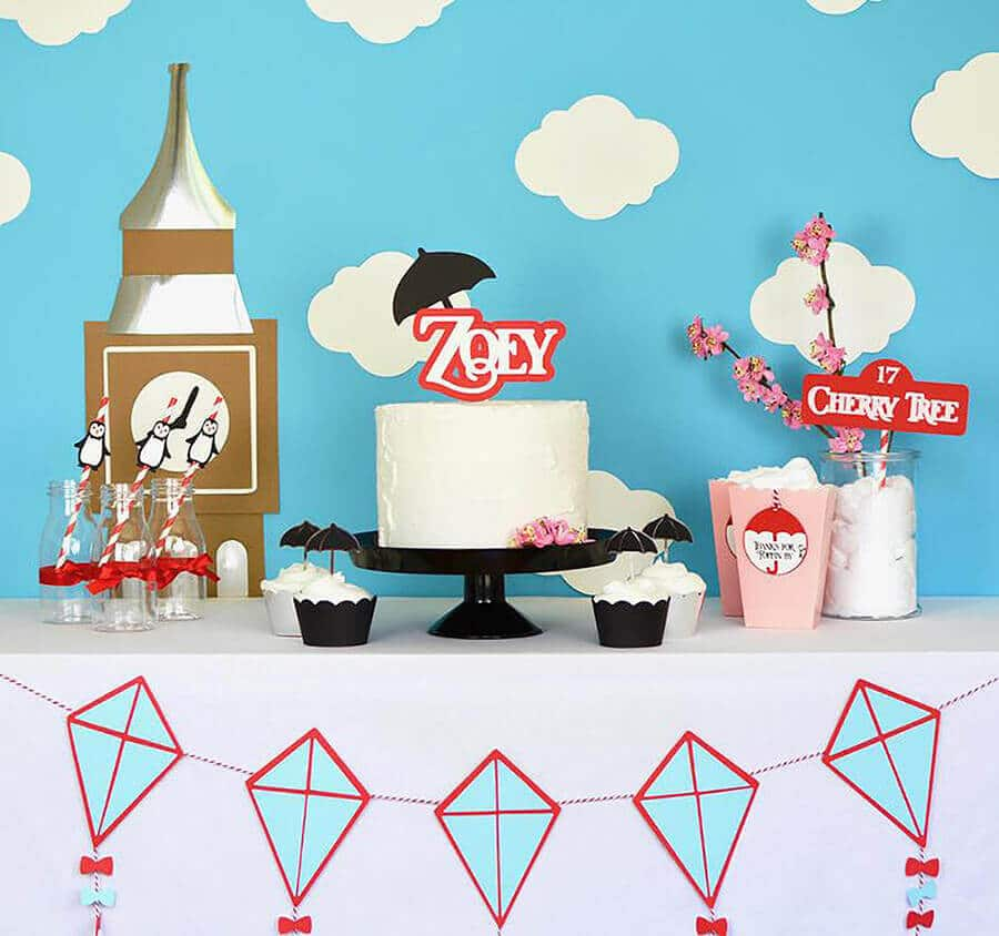 Cake table with kites Mary Poppins Party Idea