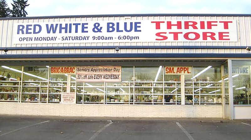 Red White and Blue a FOR Profit Thrift Store Comparisons