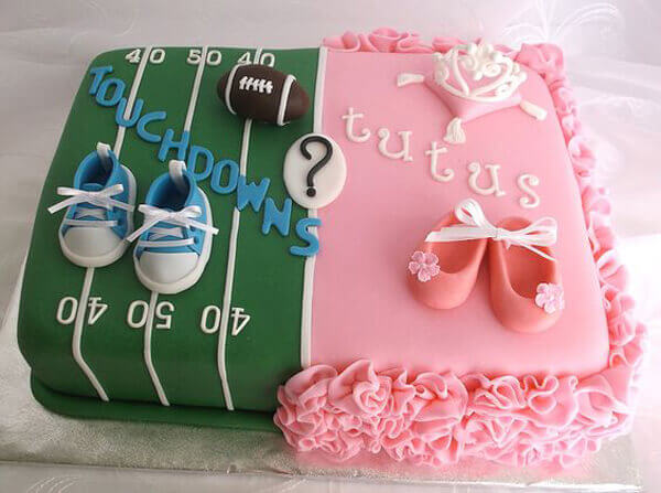 Halfpint Design - Touchdowns or Tutus, personalized party themes based on mom and dad's interests can make the party more meaningful. Divided cake with fondant details