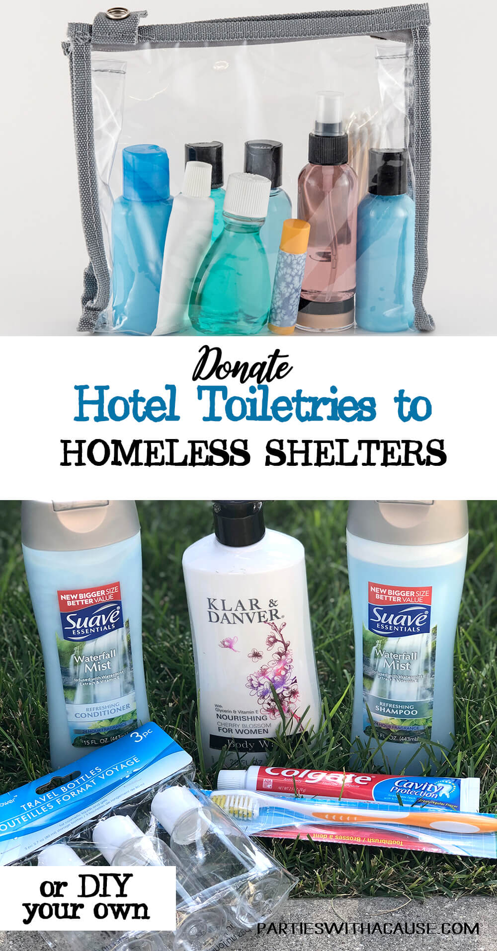 Donate unused hotel toiletries to homeless shelters