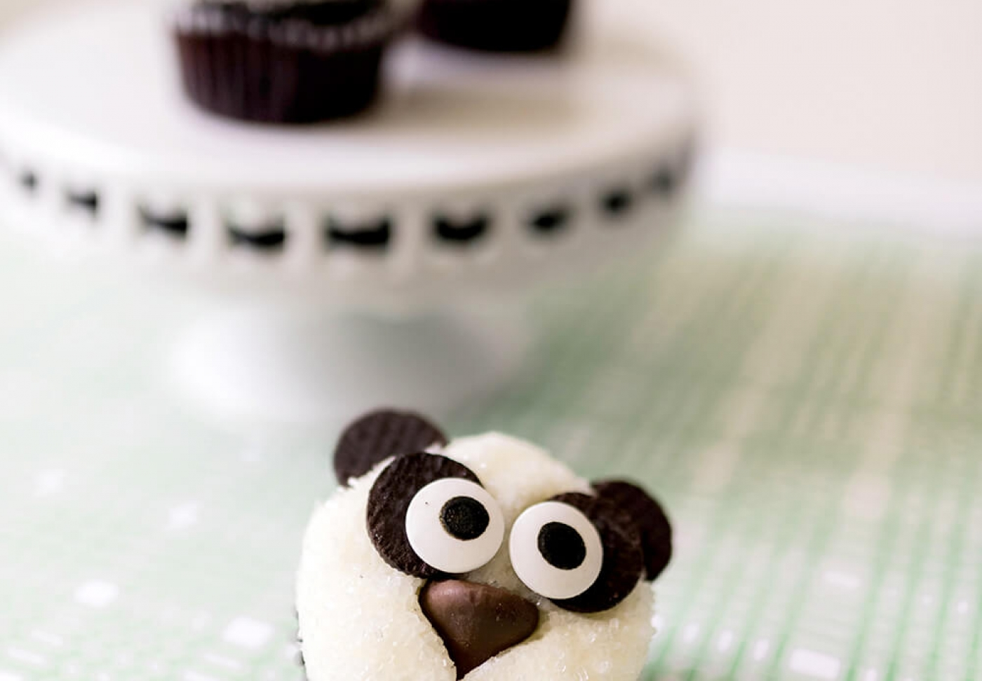 Panda party cupcakes ready to serve