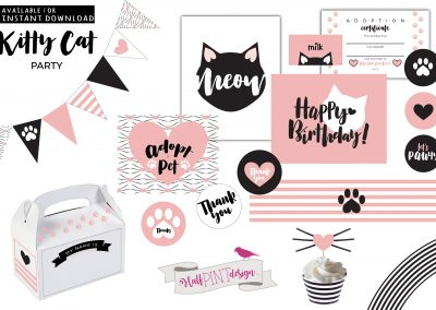 Kitty Cat Birthday Party Decor: VALUE Bundle