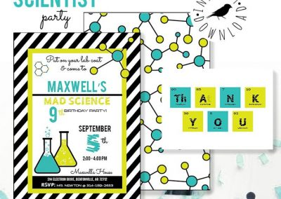 Mad Scientist Birthday Party Invitations – Aqua and Lime