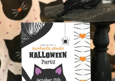 Halloween Party Black Cat Invitation