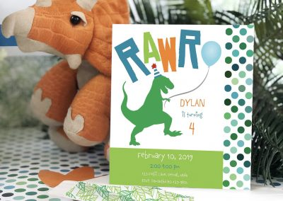 Dinosaur Rawr Party-saurus Birthday Party Invitation