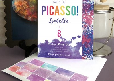 Art Party Invitation – Party Like Picasso Invite and Thank You Card