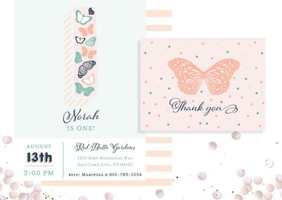 Butterfly First Birthday Party Invitation