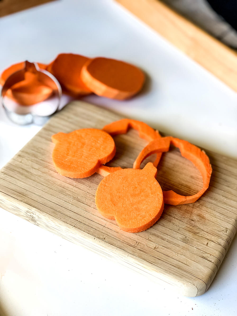 sweet potato rounds cut with pumpkin cookie cutters