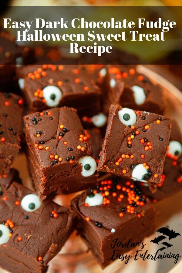 Creepy dark chocolate fudge for halloween