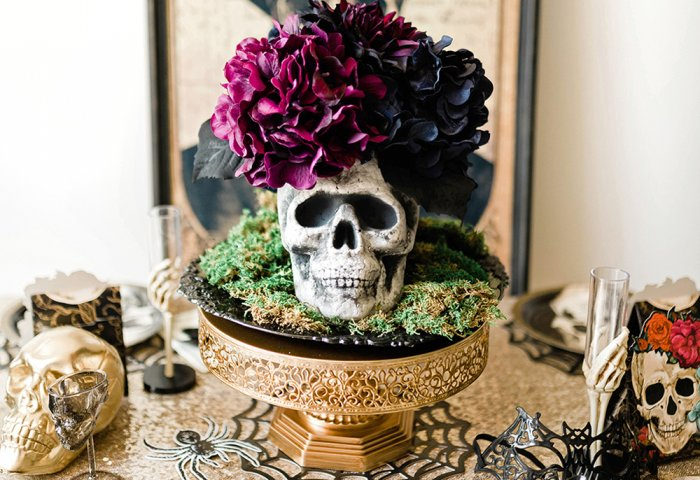 Floral Skull Centerpiece for Halloween Tablescape