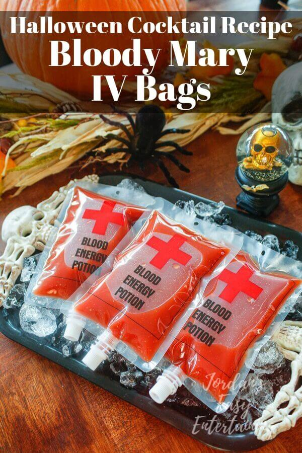 Bloody mary in an IV blood bag for halloween party drink