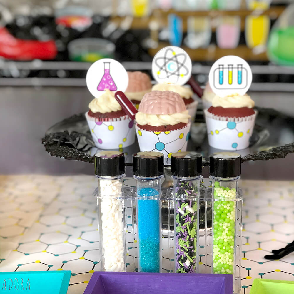 Test tube sprinkles for mad science party cupcakes