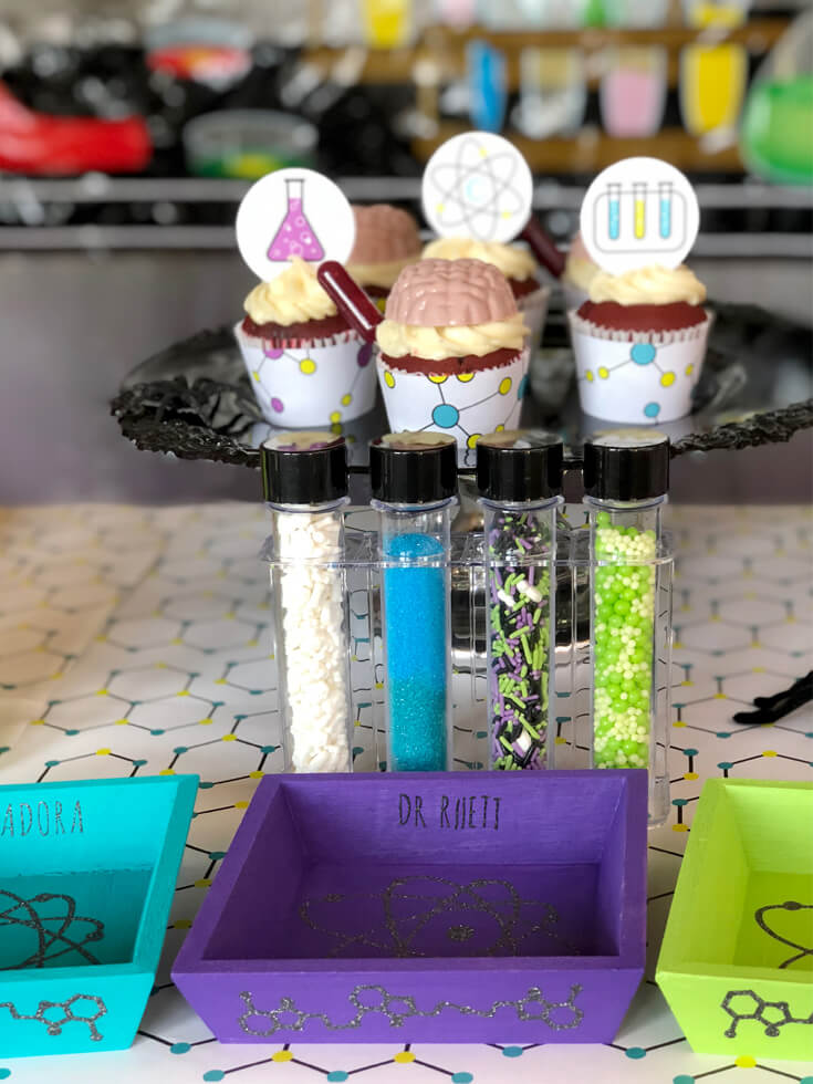 Mad Science Party cupcake decorating