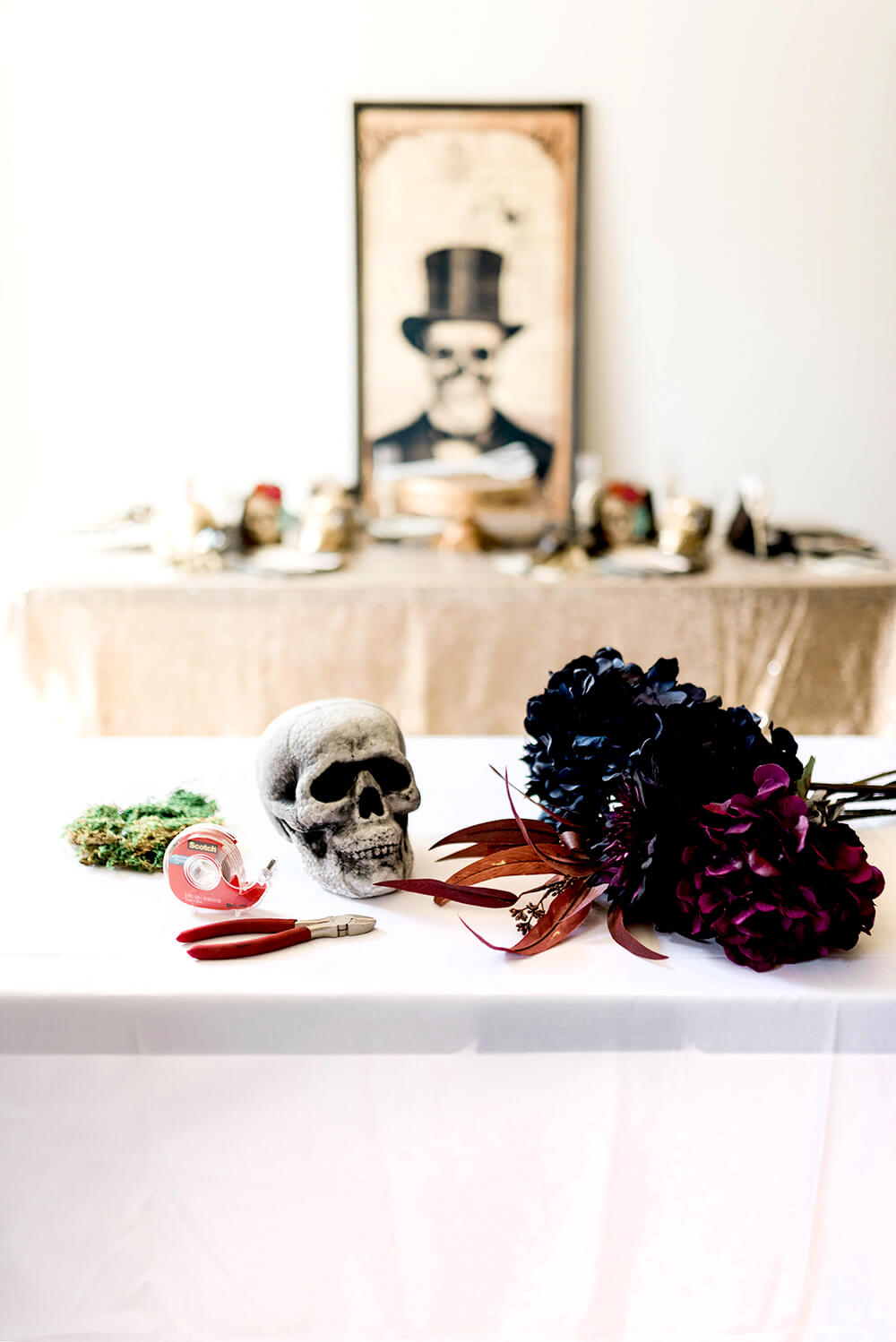Supplies for Floral Skull Centerpiece