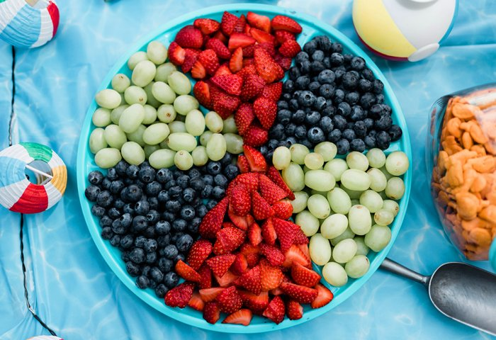 Beach ball fruit plate for pool party snacks