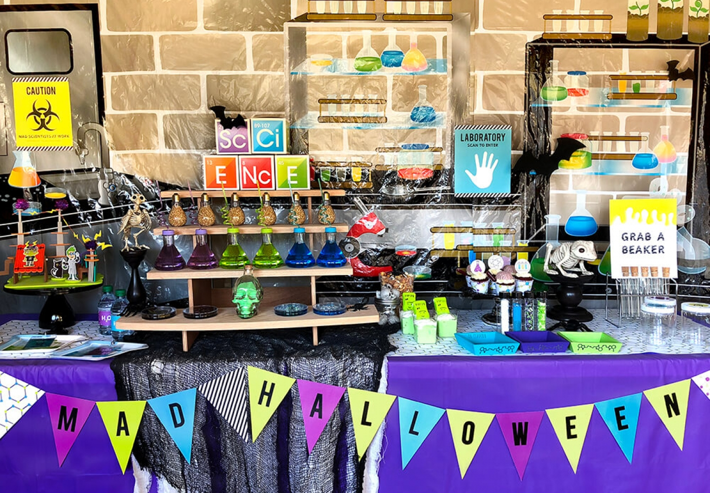 Mad Science Party table with printable banner