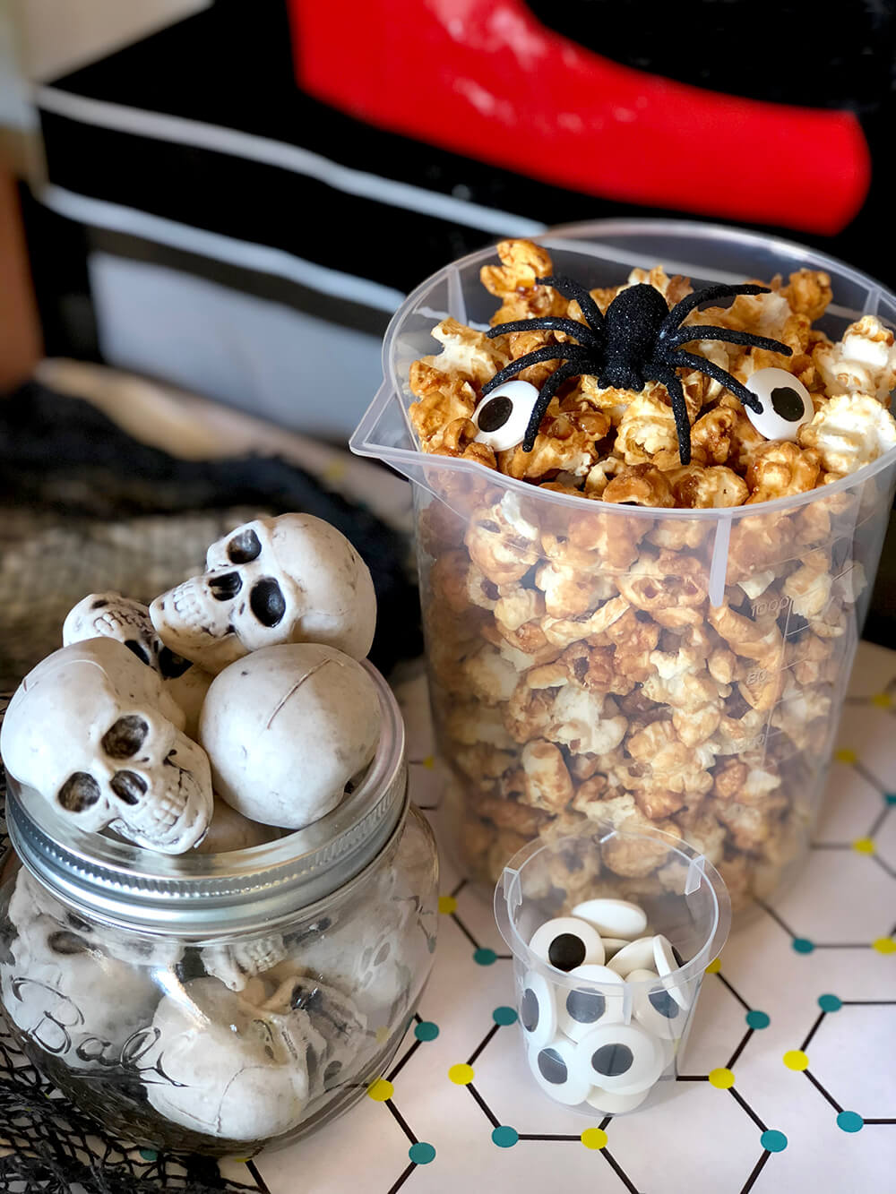caramel popcorn with candy eyes