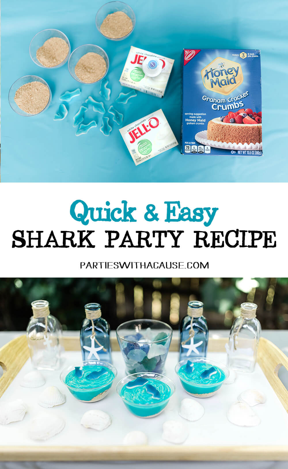 Quick & easy recipe for Shark pudding cup