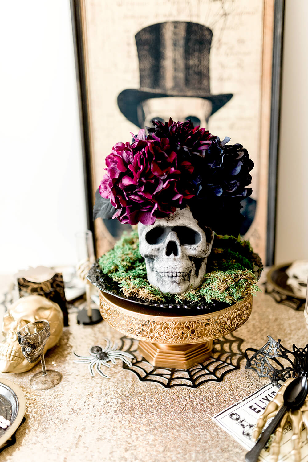 Floral Skull Centerpiece for Gothic Halloween tablescape