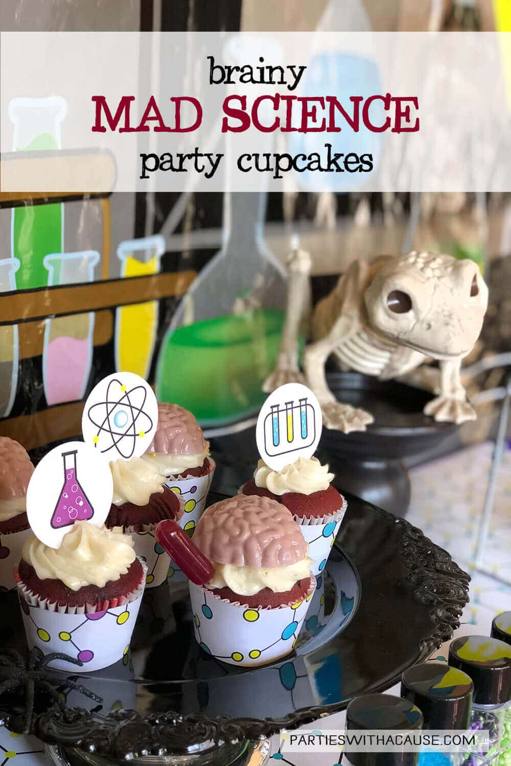 Admirable Brainy Mad Science Party Cupcakes Parties With A Cause Personalised Birthday Cards Petedlily Jamesorg