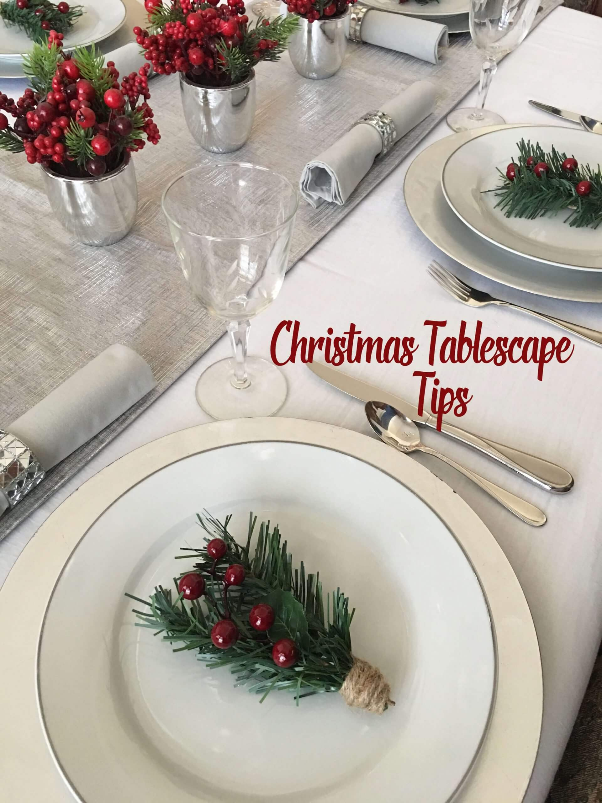 Silver and white Christmas table