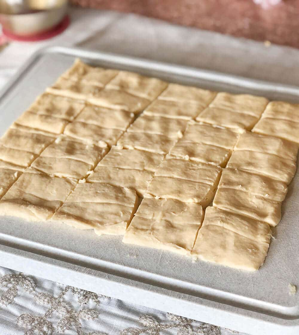Crescent dough squares for Cranberry brie tart appetizer