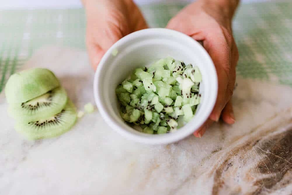 Diced kiwi for Simple Fruit Sushi Tutorial
