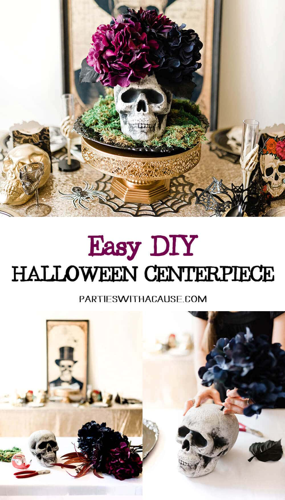 Easy DIY Floral Skull Centerpiece Tutorial